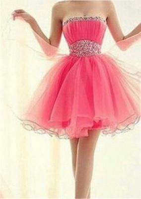 Lovely Strapless Sleeveless Organza Homecoming Dress UK Short With Beadings_1