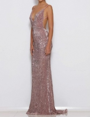 Sexy Sequins Open Back V-Neck Prom Dress UK On Sale TH309_3