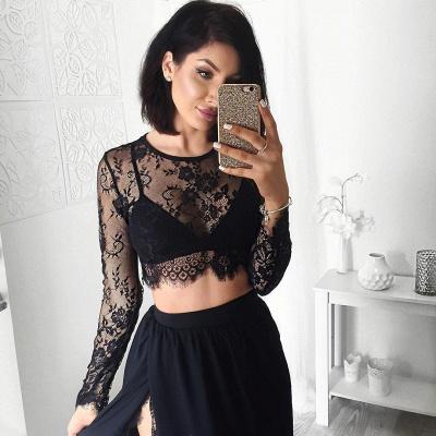 Elegant Black Long Sleeve Prom Dress UK Two Pieces Lace Front Split BA4951_6