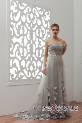 Strapless Floral Sexy A-Line Tulle Bridesmaid Dress UKes UK_3