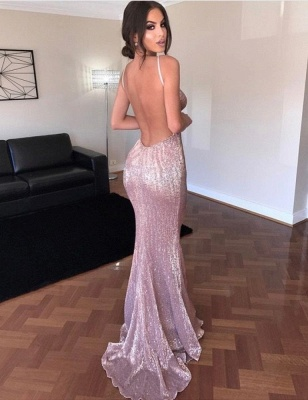 Sexy Sequins Open Back V-Neck Prom Dress UK On Sale TH309_1