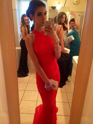 Lace Elegant Mermaid Prom Dress UK red High-neck Sleeveless Evening Gowns_3