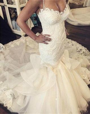 Sexy Mermaid Ruffles Lace Wedding Dress Spaghetti Strap Sleeveless_3