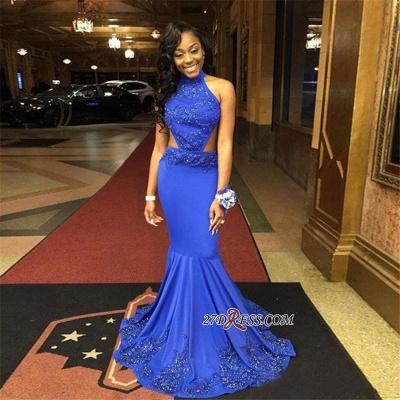 Lace-Appliques Royal-Blue Halter-Neck Open-Back Mermaid Prom Dress UKes UK BK0_1