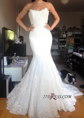 Buttons Tulle Appliques White Simple Strapless Wedding Dress_2