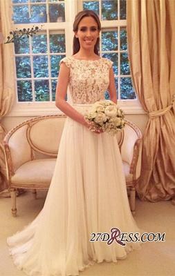 Button Zipper-Back Elegant Lace A-Line Tulle Wedding Dress_3