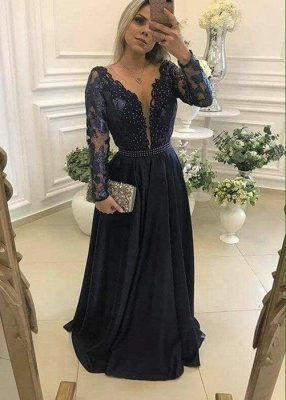 Luxury Long Sleeve Navy Evening Dress UK Lace Beadings Womens Party gowns_1