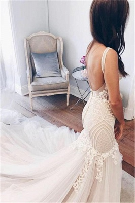 Sexy Mermaid  V-Neck Wedding Dresses UK Sleeveless Open Back Bridal Gowns with Buttons_3