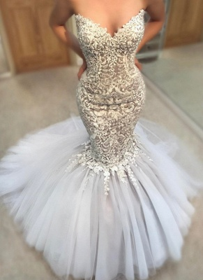 Delicate Appliques  Sexy Mermaid Wedding Dress   Sweetheart Neck Tulle Cheap Skirt Bridal Gowns_1