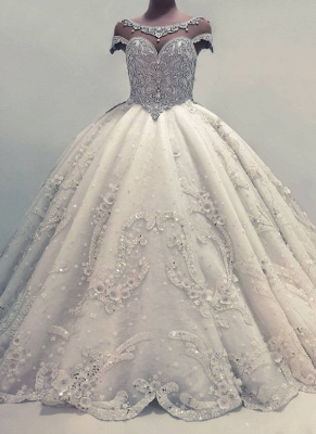 Glamorous Ball Gown Wedding Dresses UK Shiny Crystals Bridal Gowns with Flowers_1