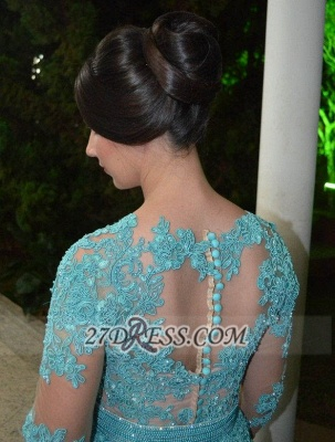 Luxurious Long Sleeve Beadings Prom Dress UK Floor-length Lace Appliques Evening Gown_4