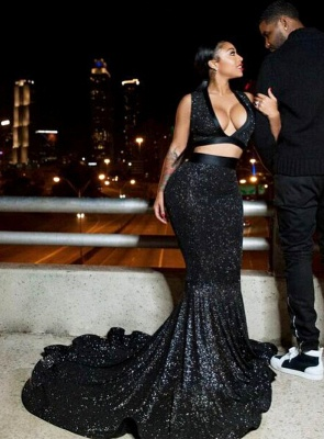 Black Prom Dress UK | Two Pieces Mermaid Party Gowns BA8041_4