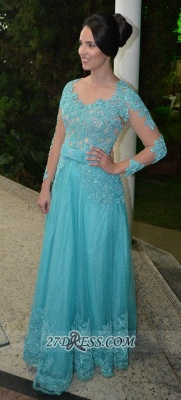 Luxurious Long Sleeve Beadings Prom Dress UK Floor-length Lace Appliques Evening Gown_1