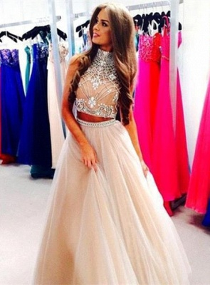Luxury Two Pieces High-Neck Prom Dress UKes UK Beadings tulle A-Line_3