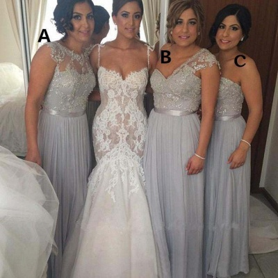 Gorgeous Chiffon Floor-length Sequined Bridesmaid Dress UK With Beadings_3