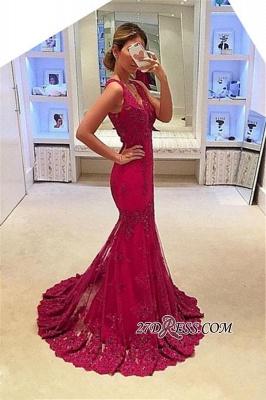 Appliques Mermaid Sleeveless Gorgeous V-Neck Prom Dress UKes UK BA4626_2