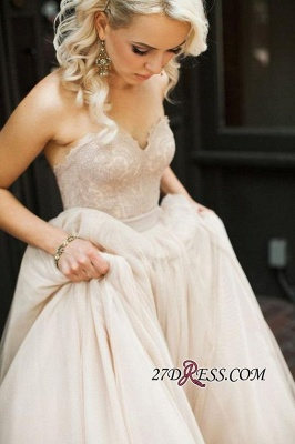 Gorgeous Sweetheart Lace Zipper Button Back Bridal Gowns_2