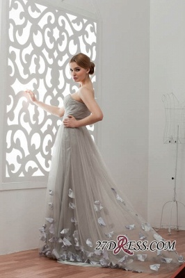 Strapless Floral Sexy A-Line Tulle Bridesmaid Dress UKes UK_4