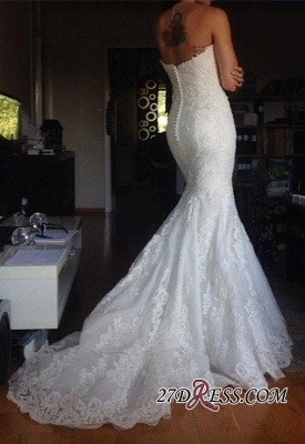 Buttons Tulle Appliques White Simple Strapless Wedding Dress_1