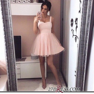 Pink Mini A-Line Straps Sexy Simple Tulle Homecoming Dress UKes UK_3
