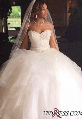 Ball Ruffles Sweetheart Tulle Princess Gown Wedding Dresses UK_1