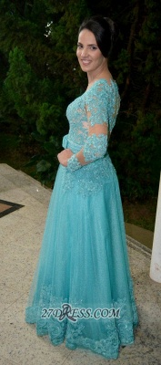 Luxurious Long Sleeve Beadings Prom Dress UK Floor-length Lace Appliques Evening Gown_2