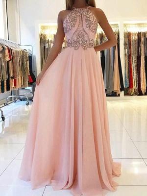 Pink Halter Long Prom Dress UK | Chiffon Evening Dress UK With Crystal_6
