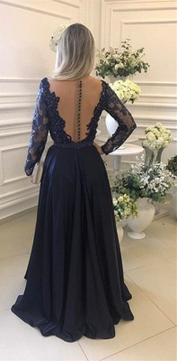 Luxury Long Sleeve Navy Evening Dress UK Lace Beadings Womens Party gowns_3