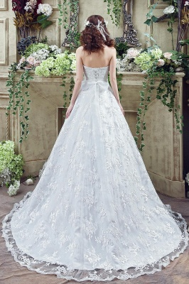 Modern Sweetheart Princess Wedding Dress Lace-up Beadss Bowknot_4