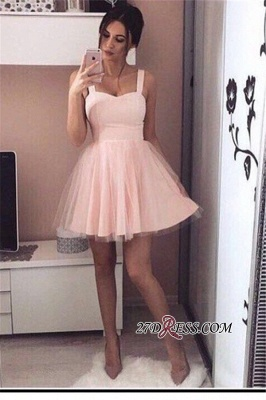 Pink Mini A-Line Straps Sexy Simple Tulle Homecoming Dress UKes UK_2