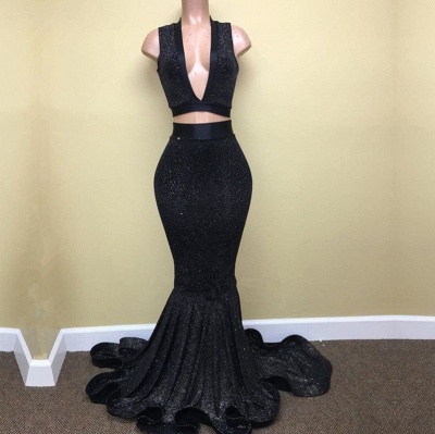 Black Prom Dress UK | Two Pieces Mermaid Party Gowns BA8041_3