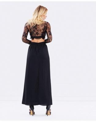 Elegant Black Long Sleeve Prom Dress UK Two Pieces Lace Front Split BA4951_3