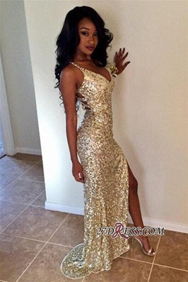 Sparkly Sheath Split Long Elegant V-neck Champagne Sequined Prom Dress UKes UK jj0020 BK0_3