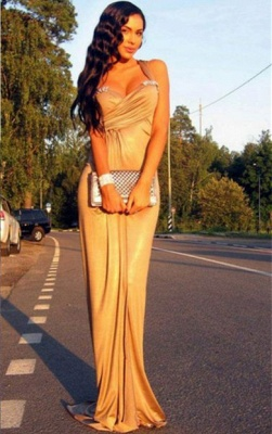 Elegant Mermaid Crystal Halter Prom Dress UK Sleeveless Sweep Train_1
