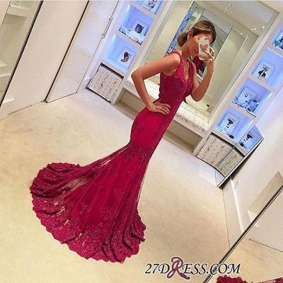 Appliques Mermaid Sleeveless Gorgeous V-Neck Prom Dress UKes UK BA4626_1