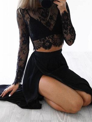 Elegant Black Long Sleeve Prom Dress UK Two Pieces Lace Front Split BA4951_1