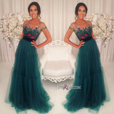 Green Appliques Short-Sleeves A-Line Tulle Prom Dress UKes UK BA6625_1