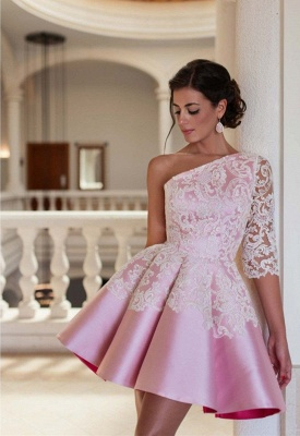 Lovely One Sleeve Lace Appliques Homecoming Dress UK Pink Short Prom Dress UK_2