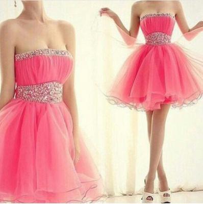 Lovely Strapless Sleeveless Organza Homecoming Dress UK Short With Beadings_2