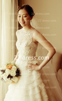 Beaded Bridal Wedding Dresses UK with Sheer Cheap Back Sleeveless Organza A-line Top Court Train Gowns Buttons_4