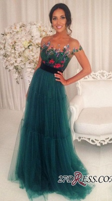 Green Appliques Short-Sleeves A-Line Tulle Prom Dress UKes UK BA6625_2