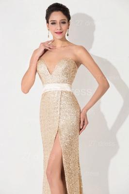 Elegant Sequins Front Split Evening Dress UK Sweetheart Sleeveless_2