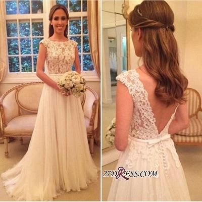 Button Zipper-Back Elegant Lace A-Line Tulle Wedding Dress_2