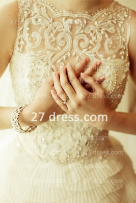 Beaded Bridal Wedding Dresses UK with Sheer Cheap Back Sleeveless Organza A-line Top Court Train Gowns Buttons_3