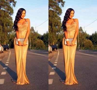 Elegant Mermaid Crystal Halter Prom Dress UK Sleeveless Sweep Train_3