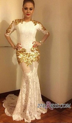Lace Mermaid Half-Sleeves Elegant Gold-Appliques Prom Dress UK_2