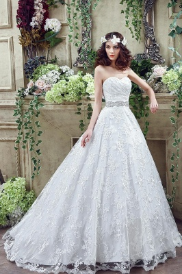 Modern Sweetheart Princess Wedding Dress Lace-up Beadss Bowknot_6