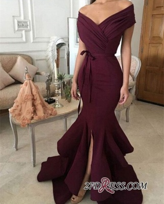 Burgundy off-shoulder Prom Dress UKes UK   Mermaid Evening Gowns With Ruffles_1
