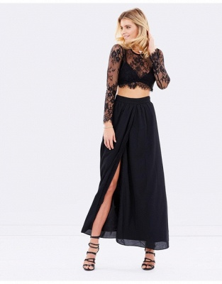 Elegant Black Long Sleeve Prom Dress UK Two Pieces Lace Front Split BA4951_5