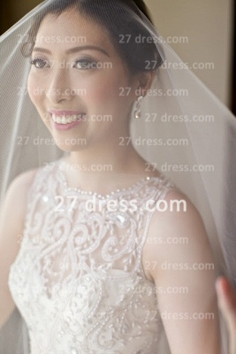 Beaded Bridal Wedding Dresses UK with Sheer Cheap Back Sleeveless Organza A-line Top Court Train Gowns Buttons_2